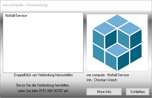 """So sieht unsere Fernwartungssoftware aus. Mit einem Doppelklick auf """"Notfall-Service"""" starten Sie die Sitzung."""